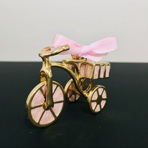 3/$30 Mini pink marble gold tricycle figurine
